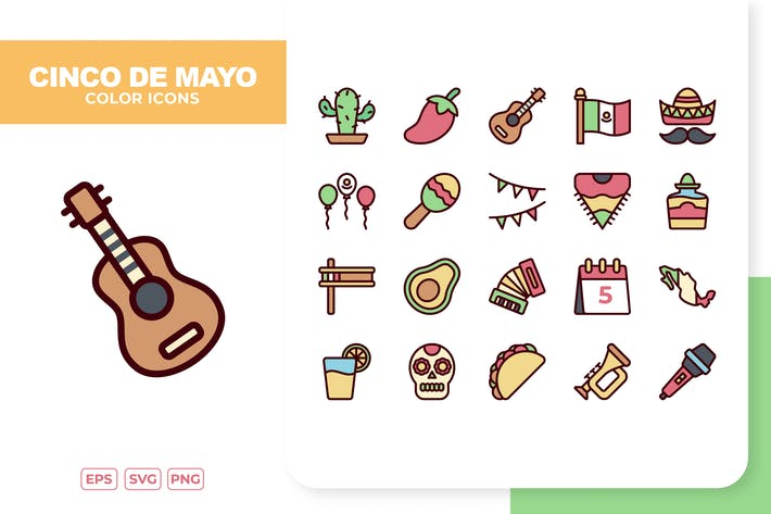 Cinco De Mayo Color Icons