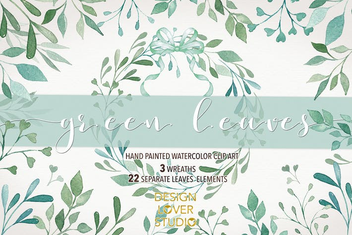"Thumbnail for Watercolor ""Green Leaves"" clip arts"