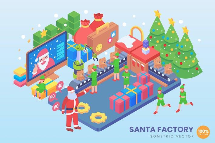 Thumbnail for Isometric Santa Factory Vector Concept