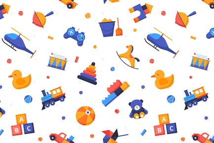 Toys - Seamless Pattern