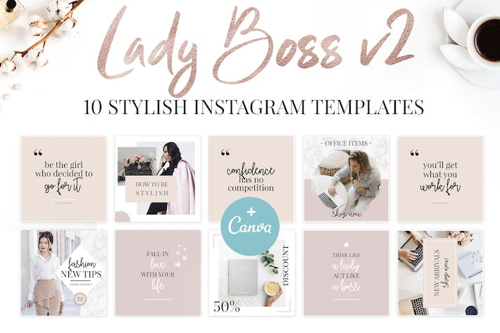Thumbnail for Canva Lady Boss Instagram Templates-2