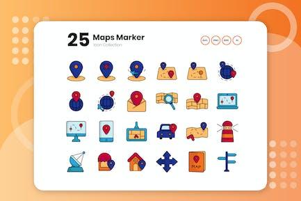25 Maps Marker Flat Icon Set