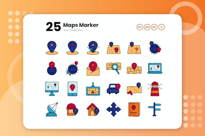 Thumbnail for 25 Maps Marker Flat Icon Set