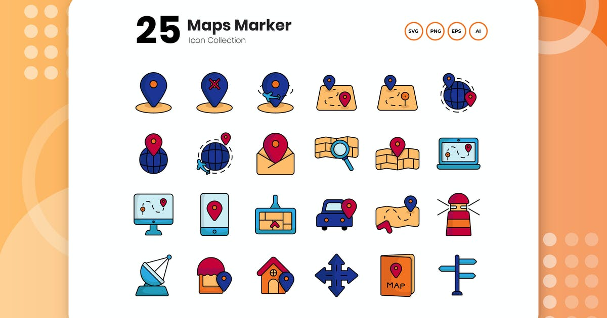 Download 25 Maps Marker Flat Icon Set by vectorclans