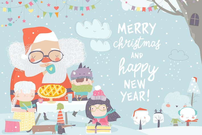 Thumbnail for Santa Claus drinking tea with happy children. Vect