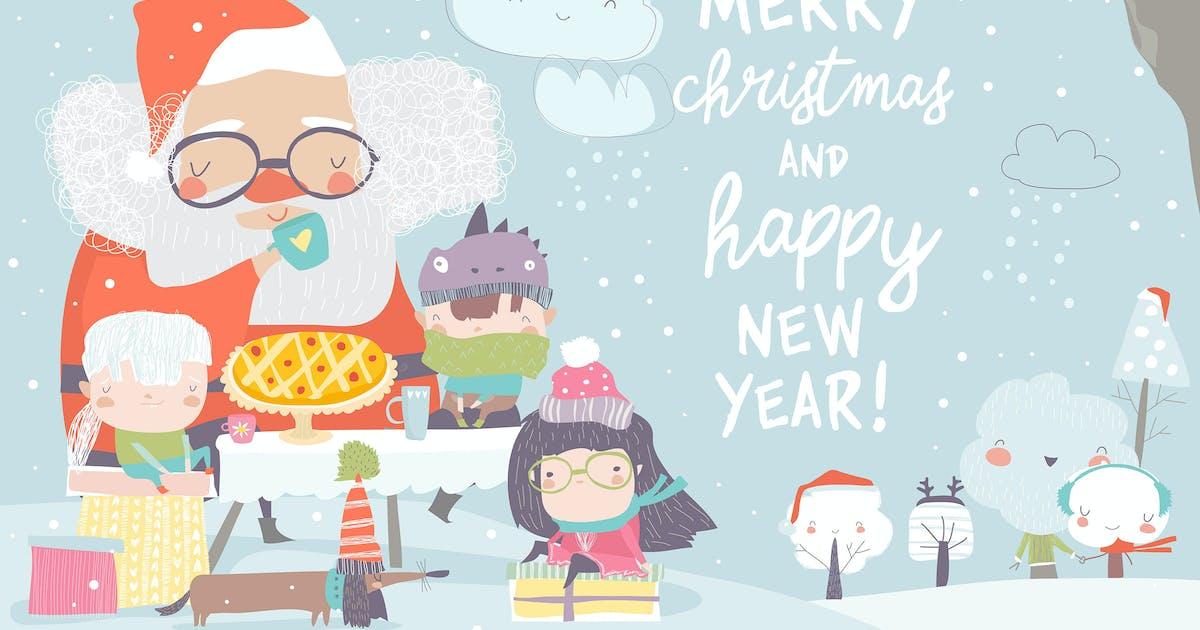 Download Santa Claus drinking tea with happy children. Vect by masastarus