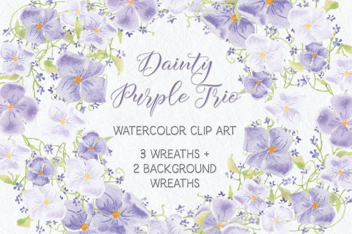 Thumbnail for Trio of Watercolor Floral Wreaths in Purple Shades