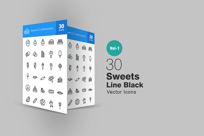 Thumbnail for 30 Sweets & Confectionery Line Icons