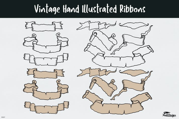 Thumbnail for Vintage Hand Illustrated Ribbons