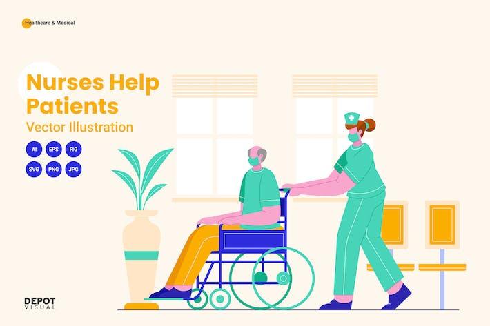 Nurses help patient vector illustration