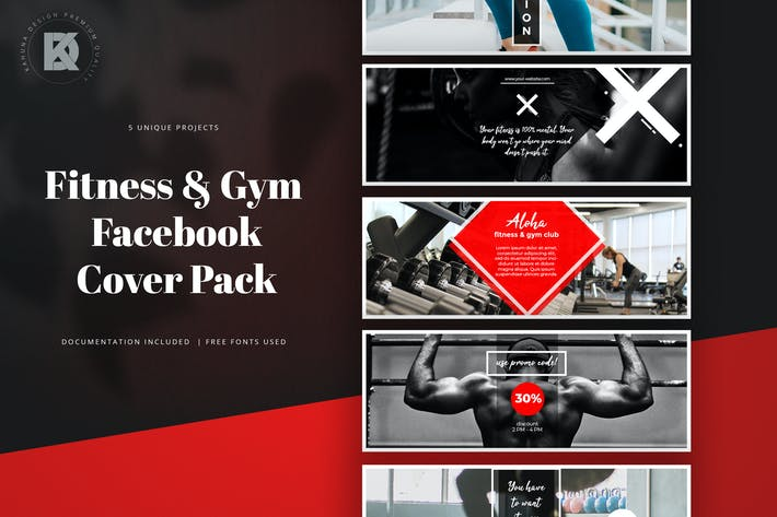 Thumbnail for Fitness & Gym Facebook Cover Pack