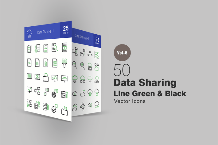 Thumbnail for 50 Data Sharing Line Green & Black Icons