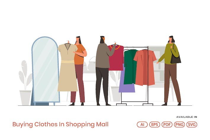 Thumbnail for Buying Clothes In Shopping Mall
