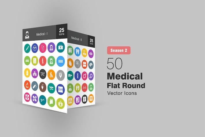 Thumbnail for 50 медицинских плоских круглых Иконки Сезон II