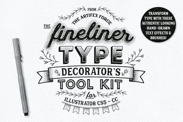 Juego de herramientas para decorador de tipo Fineliner