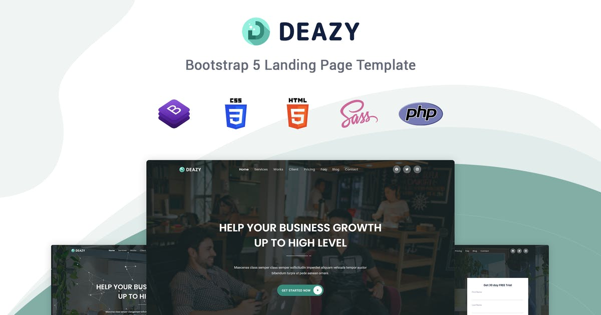 Download Deazy - Bootstrap 5 Landing Page Template by themesdesign