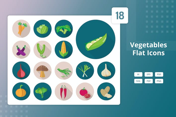 Thumbnail for Vegetables - Flat Icons