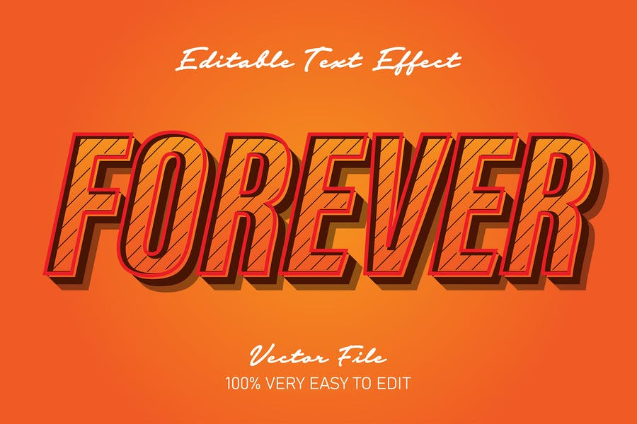 orange pop art 3d text effect