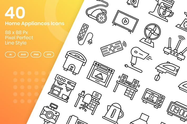 Thumbnail for 40 Home Appliances Icons Set - Line