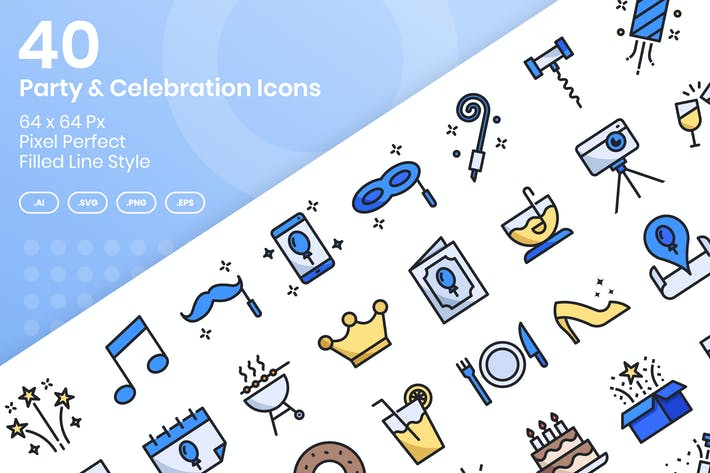 Thumbnail for 40 Party & Celebration Icons Set - Filled Line