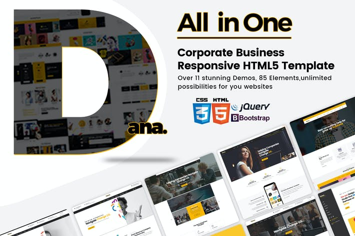 Thumbnail for Dana - Multi-Purpose Responsive HTML5 Modèle