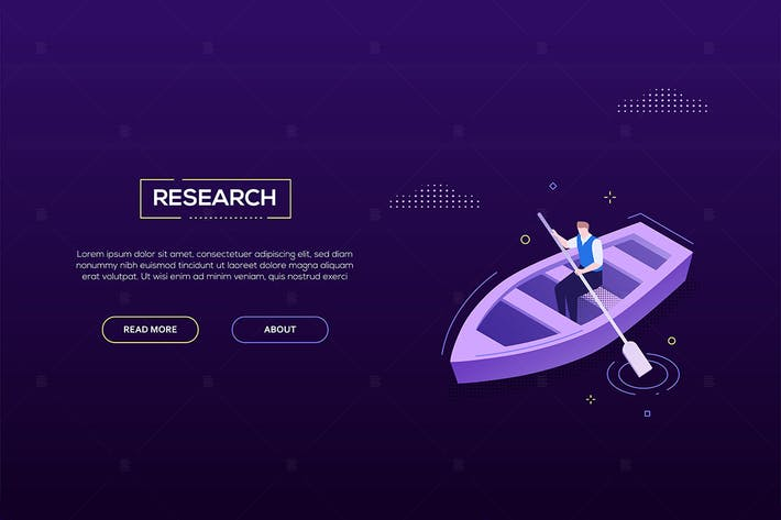 Thumbnail for Research concept - isometric vector web banner