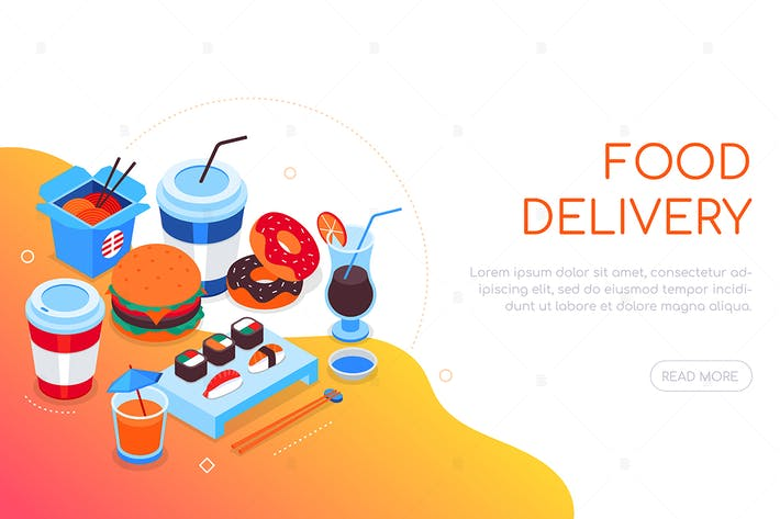 Thumbnail for Food delivery - colorful isometric web banner
