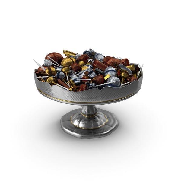 Fancy Silver Bowl with Mixed Fancy Wrapped Candies