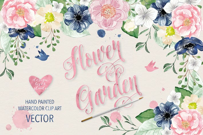 Thumbnail for Flores de acuarela Vector