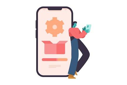Smartphone Settings Flat Illustration