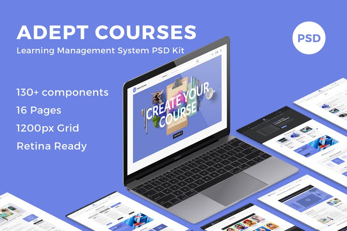 Thumbnail for Adept Courses - Learning Management System PSD Kit
