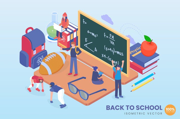 Thumbnail for Isometric Back to School Concept