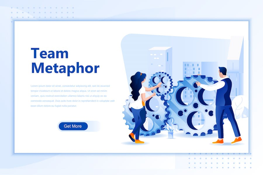 Team Metaphor Flat Landing Page Header