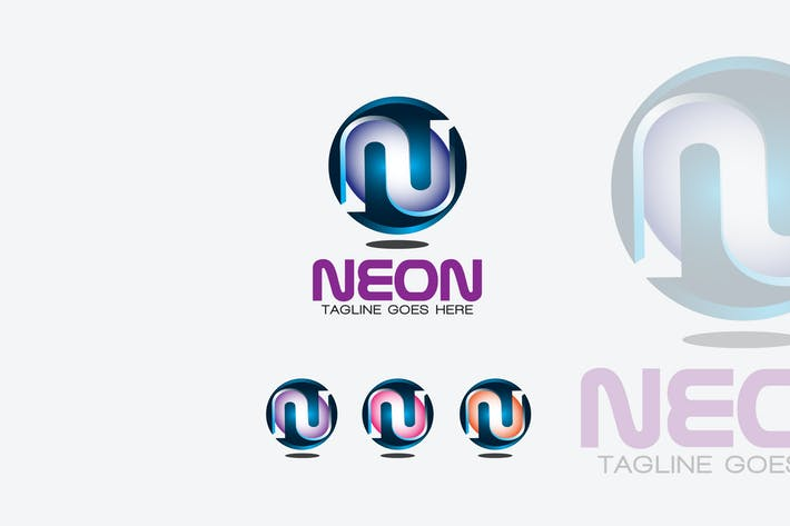 Thumbnail for Neon Letter N 3D Logo