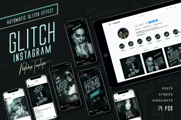 Glitch Instagram Templates - product preview 0