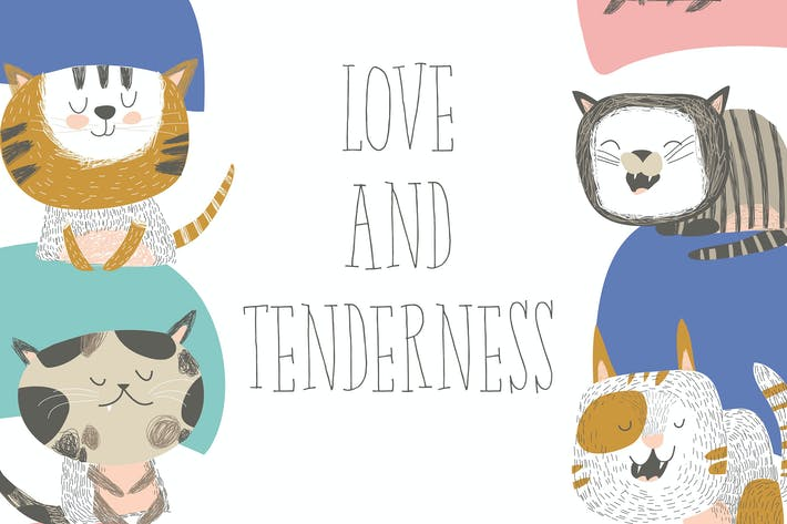 Thumbnail for Vector frame composed of funny cats in different