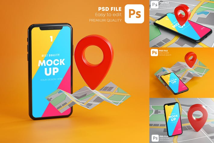 Thumbnail for Smartphone Red GPS Pin Point On Map Mockup Pack