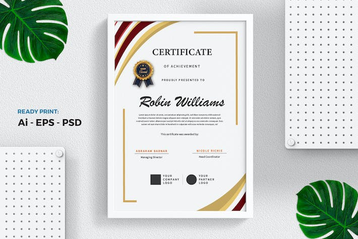 Thumbnail for Red Gold Certificate / Diploma Template