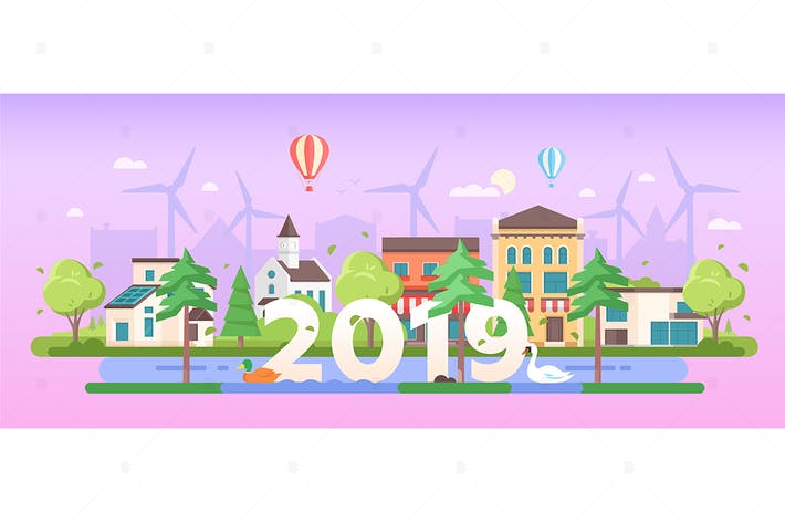 Thumbnail for Eco town - flat design style vector illustration