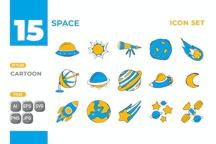 Space Icon Set (Cartoon Style) #01