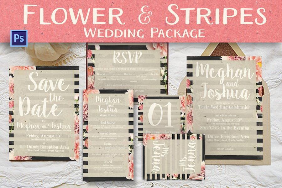 Flower And Stripes Wedding Package
