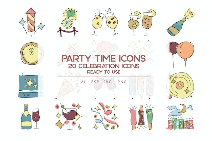 Thumbnail for Party Time Icons Set