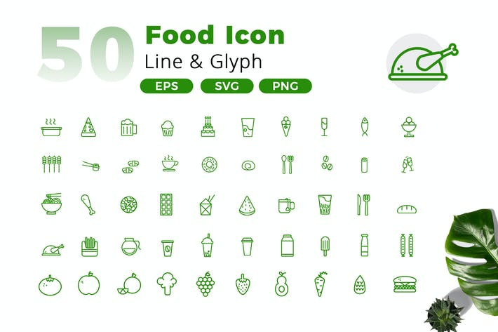 Thumbnail for 50 Food Icon Pack