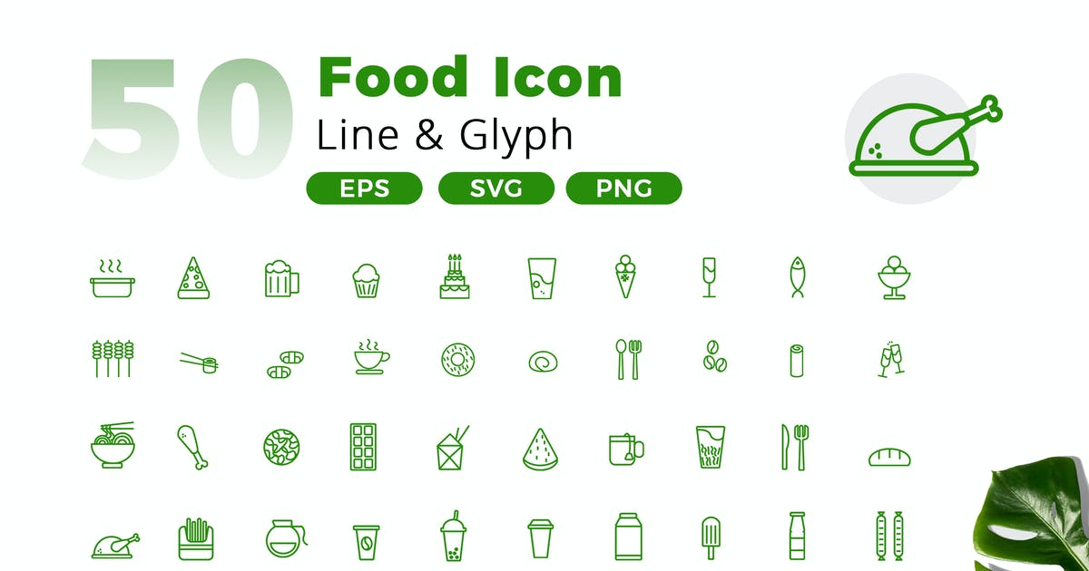 Download 50 Food Icon Pack by jegtheme