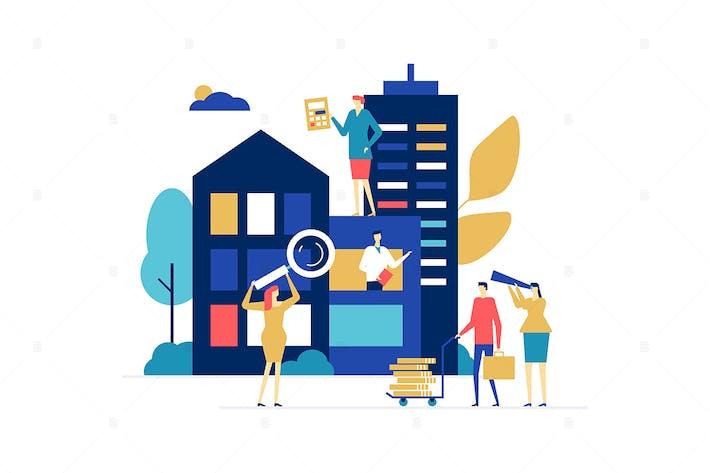 Thumbnail for Casa en venta - diseño plano estilo ilustración
