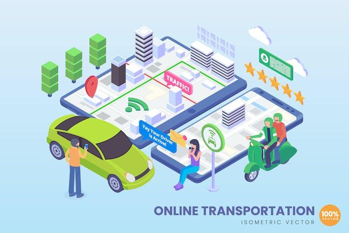 Concept de transport en ligne isométrique
