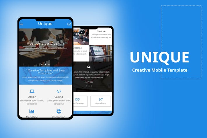 Thumbnail for Unique - Creative Mobile Template