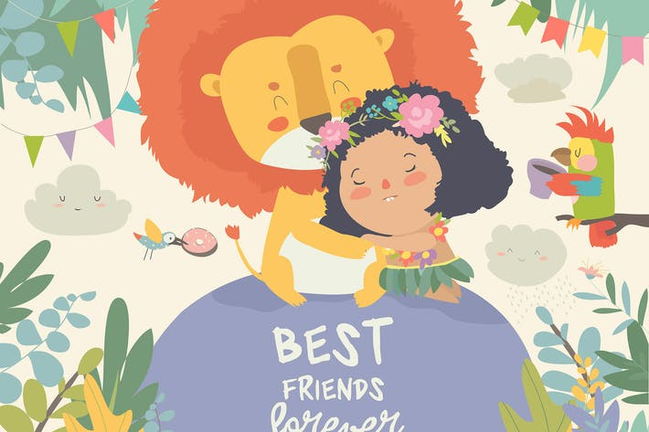 Thumbnail for Cute cartoon girl hugging the lion. Best friends.