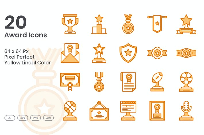 Thumbnail for 20 Award Icons Set - Yellow Lineal Color
