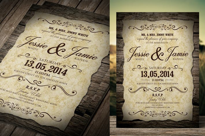 Cover Image For Invitation de mariage vintage